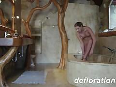 Hot blondie Churikova enjoying masturbation