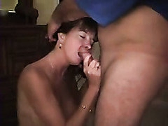 Amateur WIFE Wife Blows 2 Guys and Takes Semen