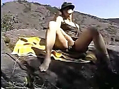 Non-Professional wife fisting herself on public beach while hubby filming the fisting masturbation scene