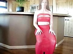 Hawt older in red costume receives drilled in her gazoo