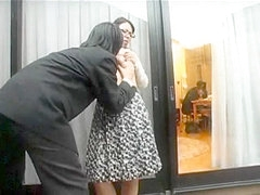 Nerdy Japanese wife gets screwed on a quickie