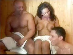 Busty black hoe fucks two bisexuals