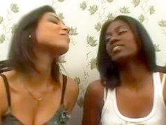 Hot Latina broad kissing ebony girl