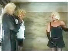 Hotties and a guy in a femdom video in the public WC