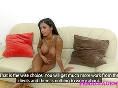 Tanned babe with awesome tits in porn audition