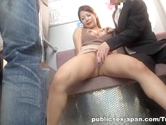 Satomi Suzuki busty Asian babe fucks in a public place