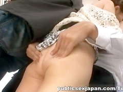 Busty beauty Ruri Saijo gets fucked on the train in public